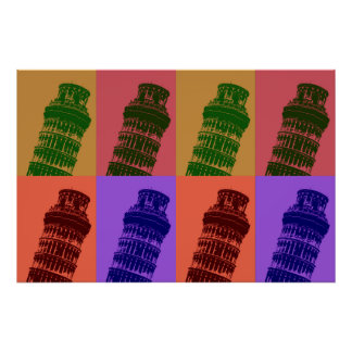 Pop Art Leaning Tower of Pisa Italy Travel Poster