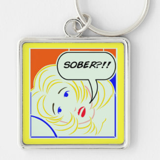 Pop art Lichtenstein style Sober Silver-Colored Square Key Ring