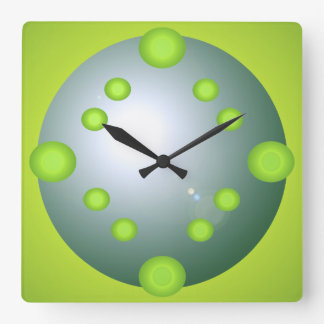Pop Art Lime Suns Aqua 3D Designer Decor Gifts Square Wall Clock