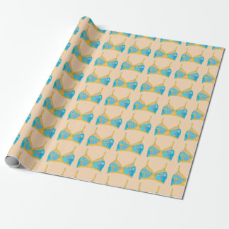 Pop Art Lingerie in Blue and Gold Wrapping Paper