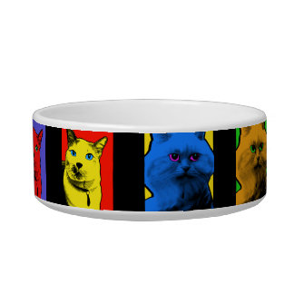 Pop Art Long And Short Haired Cats Cat Water Bowls