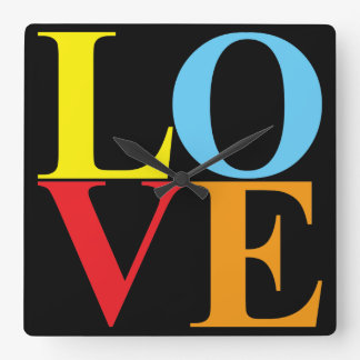 Pop Art LOVE Square Wall Clock