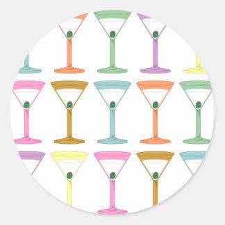 Pop Art Martinis Classic Round Sticker