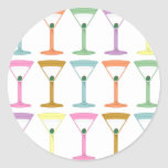 Pop Art Martinis Round Sticker