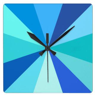 Pop Art Modern 60s Funky Geometric Rays in Blue Wallclock
