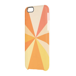 Pop Art Modern 60s Funky Geometric Rays in Orange Clear iPhone 6/6S Case