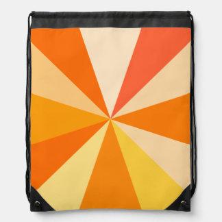 Pop Art Modern 60s Funky Geometric Rays in Orange Drawstring Backpacks