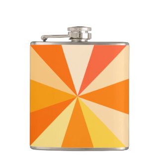 Pop Art Modern 60s Funky Geometric Rays in Orange Hip Flask