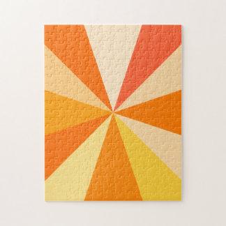 Pop Art Modern 60s Funky Geometric Rays in Orange Jigsaw Puzzle
