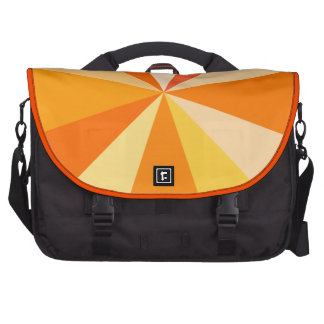 Pop Art Modern 60s Funky Geometric Rays in Orange Commuter Bags