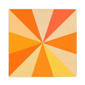 Pop Art Modern 60s Funky Geometric Rays in Orange Maple Wood Coaster