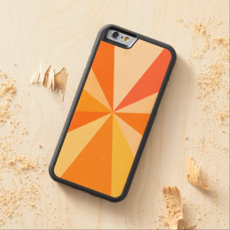 Pop Art Modern 60s Funky Geometric Rays in Orange Carved® Maple iPhone 6 Bumper Case