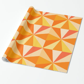 Pop Art Modern 60s Funky Geometric Rays in Orange Wrapping Paper