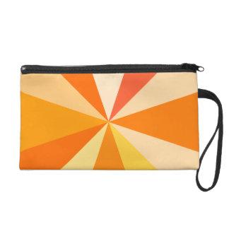 Pop Art Modern 60s Funky Geometric Rays in Orange Wristlet