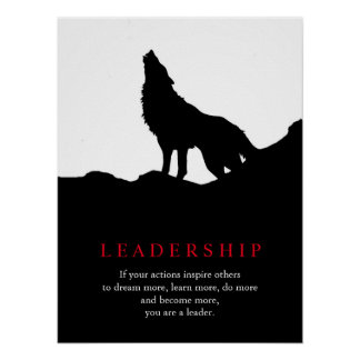 Pop Art Motivational Leadership Wolf Poster