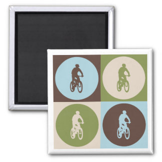 Pop Art Mountain Biking Square Magnet