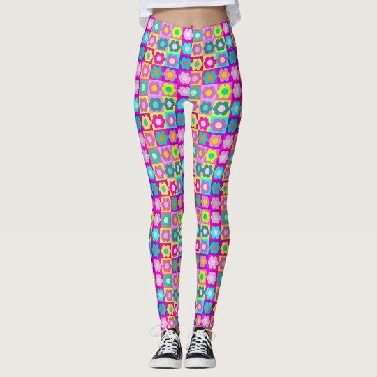 Pop art multi colour floral leggings