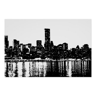 Pop Art New York City Manhattan Silhouette Poster