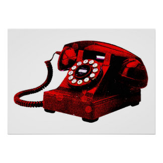 Pop Art Old Red Desk Telephone Box Poster