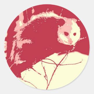 Pop Art Opossum Round Stickers