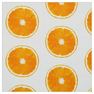 Pop Art Orange Slices - white background Fabric
