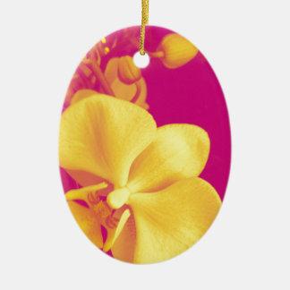 Pop art orchid christmas ornament