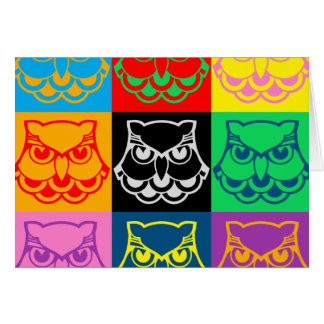 Pop Art Owl Face Greeting Card
