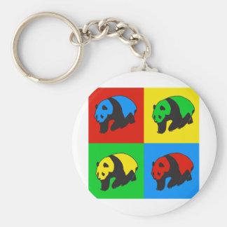 Pop Art Panda Basic Round Button Key Ring