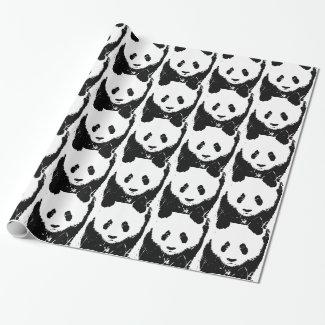 Pop Art Panda Christmas Gift Wrap