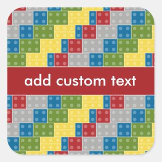 Pop Art Pattern Colorful Bricks for Boys Square Sticker