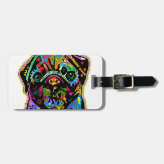 Pop Art Pet Pug Colorful Art Retro Luggage Tag