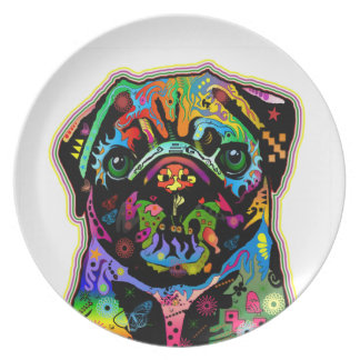Pop Art Pet Pug Colorful Art Retro Party Plate