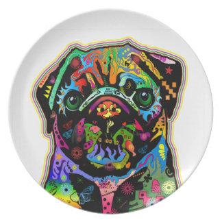 Pop Art Pet Pug Colorful Art Retro Party Plate