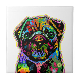 Pop Art Pet Pug Colorful Art Retro Tile