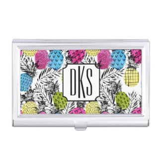 Pop Art Pineapples And Palm Leaves | Monogram Business Card Holder