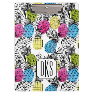 Pop Art Pineapples And Palm Leaves | Monogram Clipboard