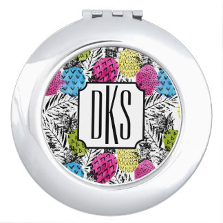 Pop Art Pineapples And Palm Leaves   Monogram Compact Mirror