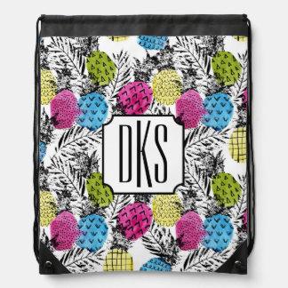 Pop Art Pineapples And Palm Leaves | Monogram Drawstring Bag