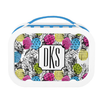 Pop Art Pineapples And Palm Leaves | Monogram Lunch Box