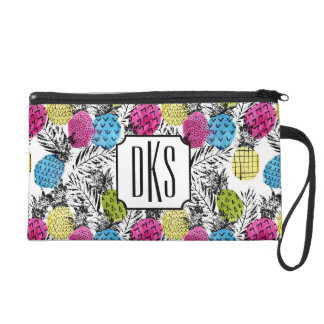 Pop Art Pineapples And Palm Leaves | Monogram Wristlet Purses
