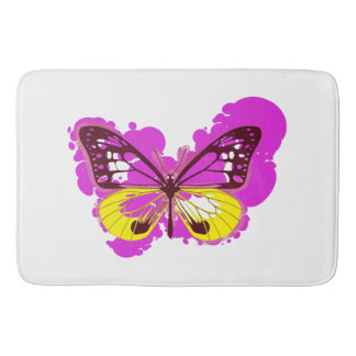 Pop Art Pink Butterfly Bath Mat
