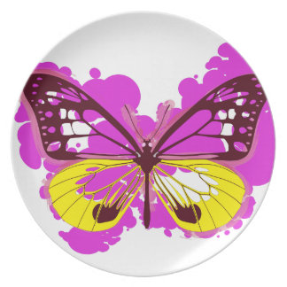 Pop Art Pink Butterfly Plate