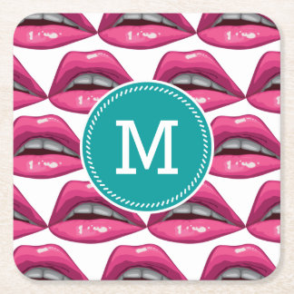 Pop Art Pink Lips Makeup Square Paper Coaster
