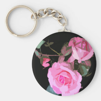 Pop Art Pink Roses Keychain