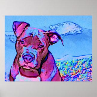 Pop Art Pit Bull Puppy Dog Poster