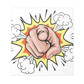Pop Art Pointing Cartoon Hand Notepads