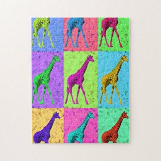 Pop Art Popart Walking Giraffe Multi-Color Jigsaw Puzzle