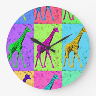 Pop Art Popart Walking Giraffe Multi-Color Large Clock