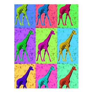 Pop Art Popart Walking Giraffe Multi-Color Postcard