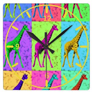 Pop Art Popart Walking Giraffe Multi-Color Wall Clock
